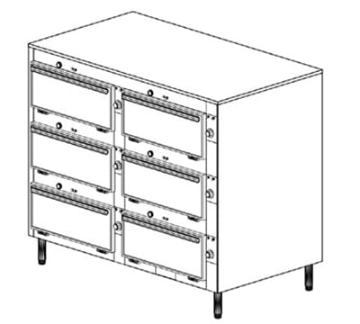 Duke 2456P 2403 Pass Thru Heated Cabinet, 1-Thermostat Per 6-Compartment, Legs, 240/3 V