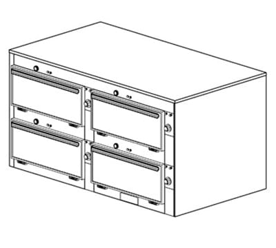 "Duke 2464 2083 Reach In Heated Cabinet, 1-Thermostat Per 4-Compartment, 9x22x28.5"", 208/3 V"