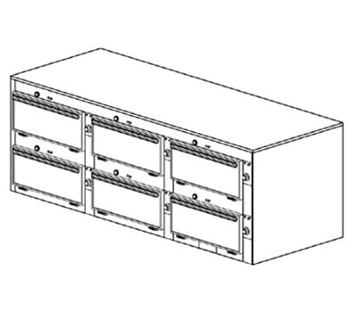 "Duke 2466P 2083 Pass Thru Heated Cabinet, 1-Thermostat Per 6-Compartment, 9x22x28.5"", 208/3 V"