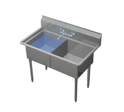 """Duke 272S-NDB 53.75"""" 2-Compartment Sink w/ 24""""L x 26.75""""W Bowl, 14"""" Deep"""