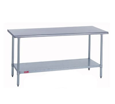 "Duke 314S-24132 132"" 14-ga Work Table w/ Undershelf & 300-Series Stainless Flat Top"