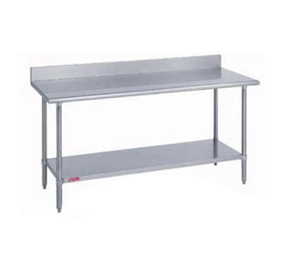 "Duke 314S-2496-5R 96"" 14 ga Work Table w/ Undershelf & 300 Series Stainless Top, 5"" Backsplash"