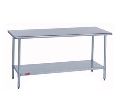 "Duke 314S-30120 120"" 14-ga Work Table w/ Undershelf & 300-Series Stainless Flat Top"