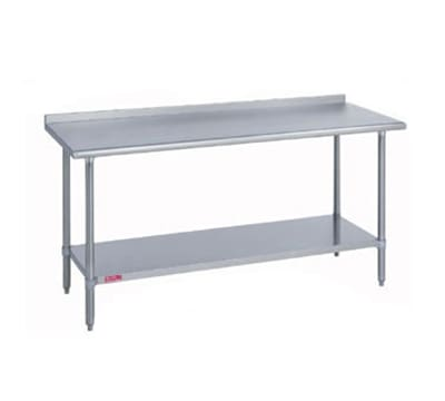 "Duke 314S-3084-2R 84"" 14 ga Work Table w/ Undershelf & 300 Series Stainless Top, 1.125"" Backsplash"