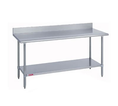 "Duke 316S-3072-5R 72"" 16 ga Work Table w/ Undershelf & 300 Series Stainless Top, 5"" Backsplash"