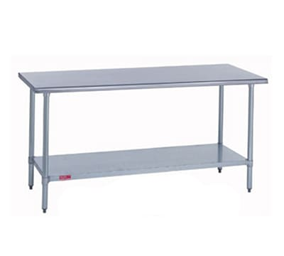 "Duke 418-2472 72"" 18 ga Work Table w/ Undershelf & 400 Series Stainless Flat Top"