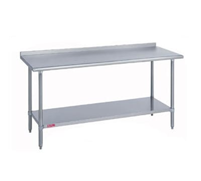 "Duke 418-2472-2R 72"" 18 ga Work Table w/ Undershelf & 400 Series Stainless Top, 1.125"" Backsplash"