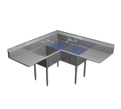 "Duke CS1A2B30 84"" 3 Compartment Sink w/ 16""L x 21""W Bowl, 12"" Deep"