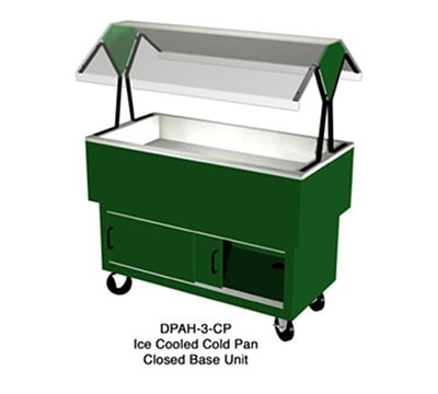 "Duke DPAH-2-CP 30.37"" Cold Food Portable Buffet w/ 2 Sections & Enclosed Base, Clear Canopy"