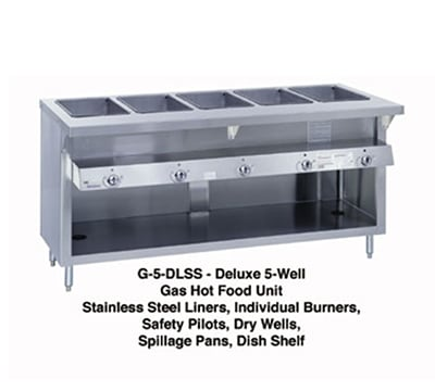 "Duke G-4-DLSSNG 60"" Steamtable Unit w/ 4-Wells & 4-Pans, All Stainless, NG"