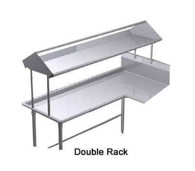"Duke SDD-120 120"" Table Mounted Double Service Rack Shelf w/ Drain, 16-ga Stainless"