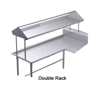 "Duke SDD-48 48"" Table Mounted Double Service Rack Shelf w/ Drain, 16-ga Stainless"