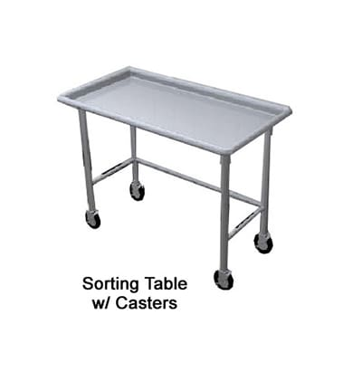 "Duke STI-72 72"" Island Sorting Table w/ Stainless Top, Legs & Feet"