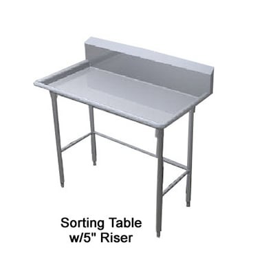 "Duke STW-60 60"" Sorting Table w/ Splash, Stainless Top, Legs & Feet"
