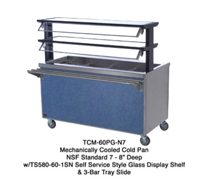 "Duke TCM-74SS-N7 120 74"" Mobile Cold Food Unit w/ Stainless Body & Undershelf, 8"" D, 120 V"