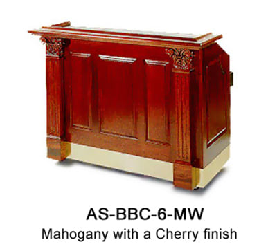 """FWE AS-BBC-6-MW Portable Bar 72"""" L, 60lb Capacity Ice Bin, Laminated Bar Top, Stainless Int."""