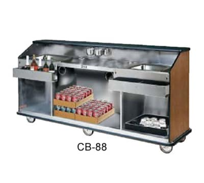 FWE CB-88 793838 Conventional Portable Bar, 98in L, Wraparound Bumper, New Age Oak.