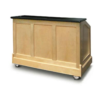 "FWE ES-CB-5-BW Executive Series Portable Bar, 60"" L, 60lb Cap. Ice Bin, Glass Storage."