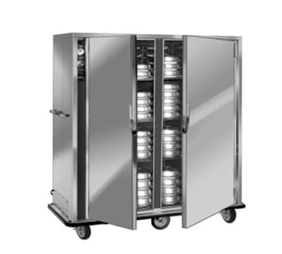 FWE P-120-2220 P-Series Banquet Cart w/ 2-Doors, 96/120-11in Round Plate Capacity, 220/1V