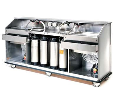 FWE SBBC-88 Mobile Bar w/ 60LB Capacity Ice Bin, 98-in L, Full-Bumper, Stainless