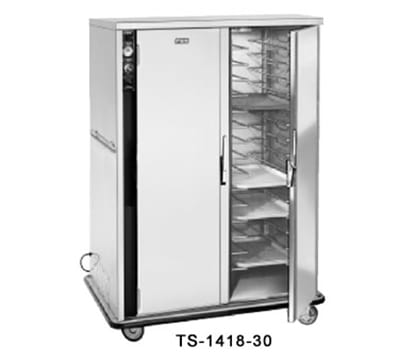 FWE TS-1418-30220 Heated Tray Delivery Cart w/ 2-Doors, 30-Pair Univer. Slides, Insulated, 220/1V