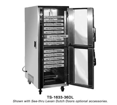 FWE TS163336 Mobile Heated Pizza Cabinet w/ 3 Shelves, 18 Pair Tray Slides, 36 Pizza Box/Pan Cap.