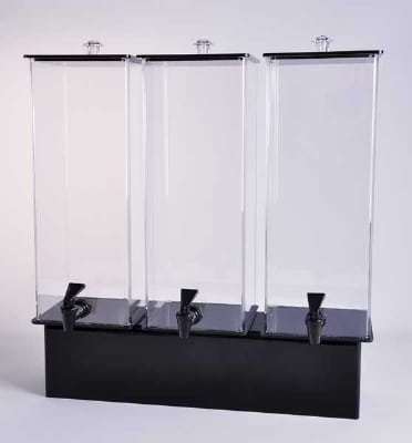 Jule-art 880-1852 Triple Simple Drink Dispenser w/ 2-Gallon Capacity, Black & Clear
