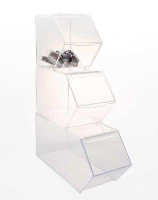 Jule-art SBBSET 3-Piece Stackable Bulk Bin Set w/ Hinged Angled Front