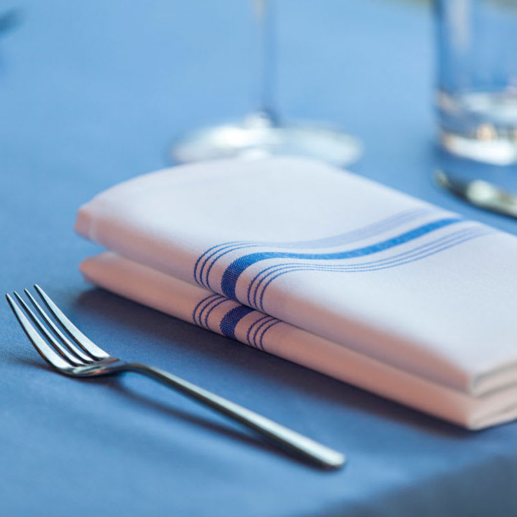 "Marko 53771822NH630 Bistro Striped Napkins - 18x22"", Hemmed Edge, White/Belize Blue"