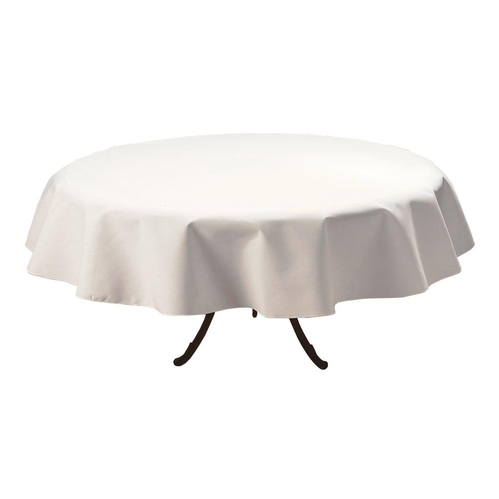 "Marko 537876RM010 76"" Round Tablecloth - Polyester, White"