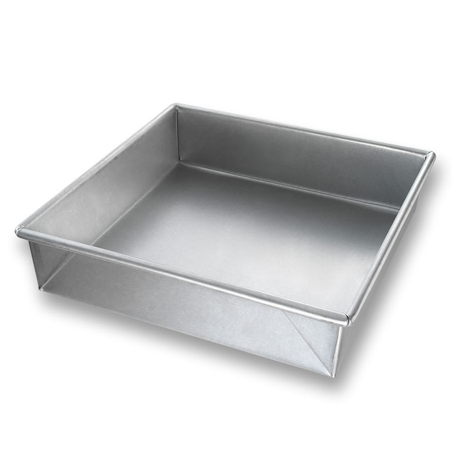 "Chicago Metallic 21500 Cake Pan, 9.56"" x 9.56"" x 2.25"", AMERICOAT Glazed 22-ga. Aluminized Steel"
