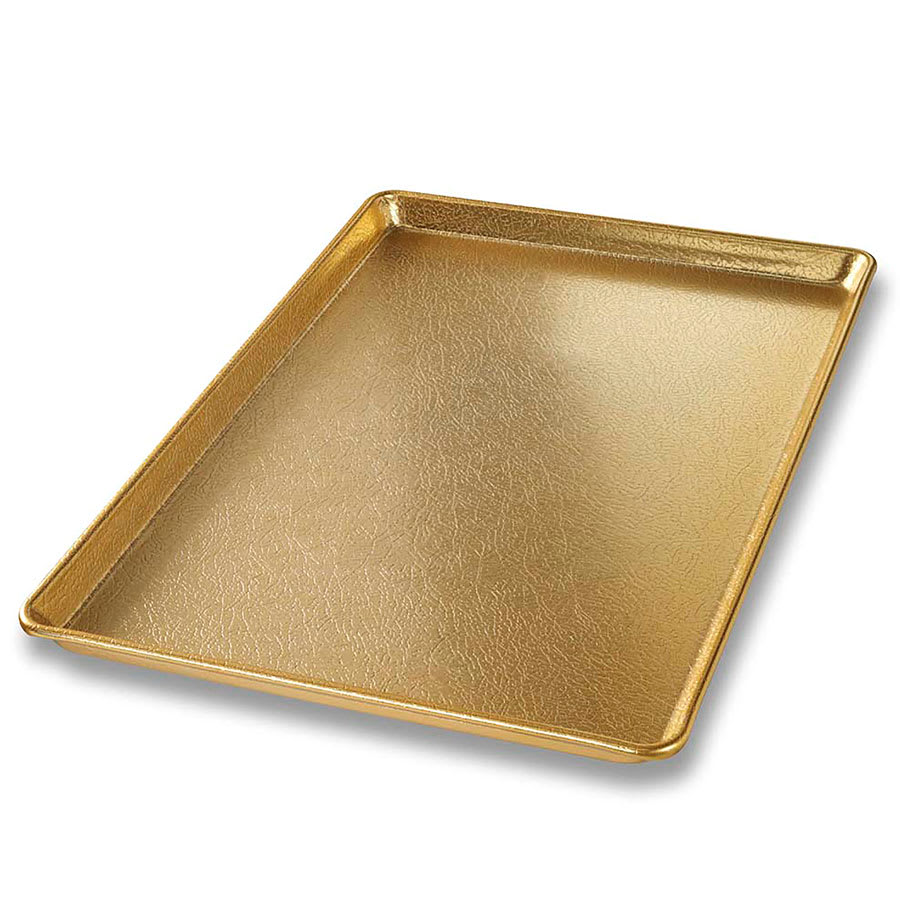 "Chicago Metallic 40930 Display Pan, 11.9"" x 17.9"" x 0.8"", Gold Finish, 16 ga. Anodized Aluminum"