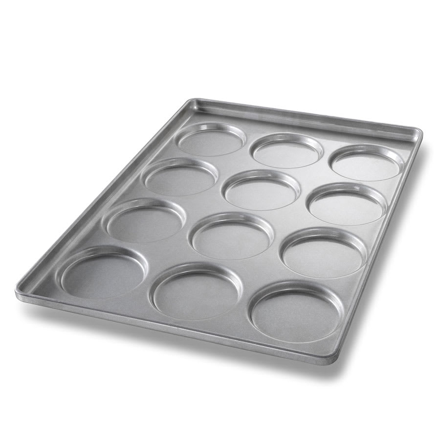 "Chicago Metallic 41005 Burger Bun Pan, Makes (12) 5"" x 4.75"" x 0.5"" Buns, AMERICOAT Glazed 22-ga. Aluminized Steel"