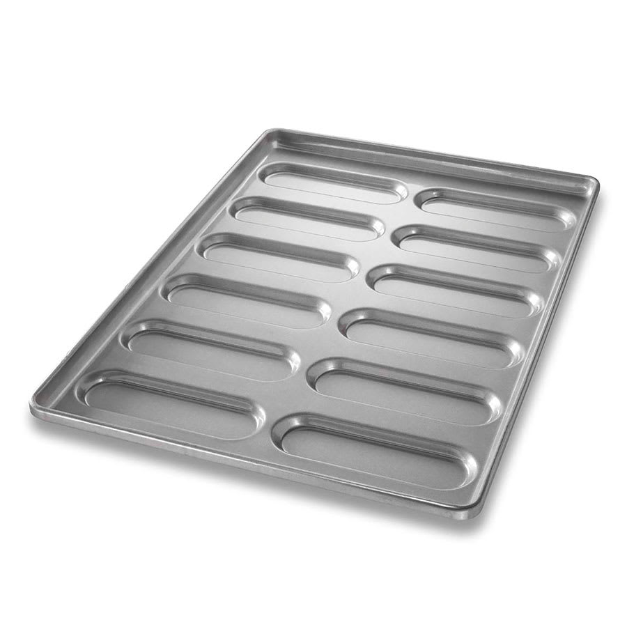 "Chicago Metallic 41055 Hoagie Roll Pan, Makes (12) 7.88"" x 2.5"" Rolls, AMERICOAT Glazed 22 ga. Aluminized Steel"