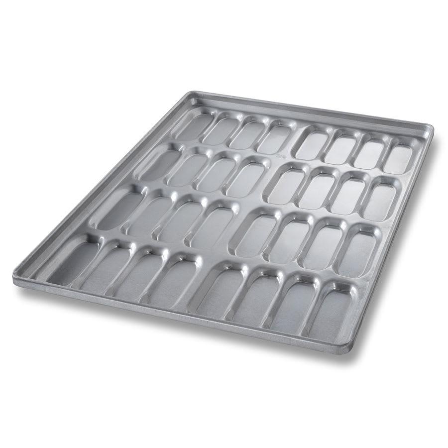 "Chicago Metallic 42465 Cluster Hot Dog Bun Pan, Makes (32) 5.6"" x 2.16"" Buns, AMERICOAT Glazed 22-ga. Aluminized Steel"