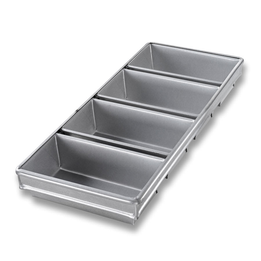 "Chicago Metallic 44245 Bread Pan Set, Holds (4) 8.5"" x 4.5"" Pans, AMERICOAT Glazed 26-ga. Aluminized Steel"