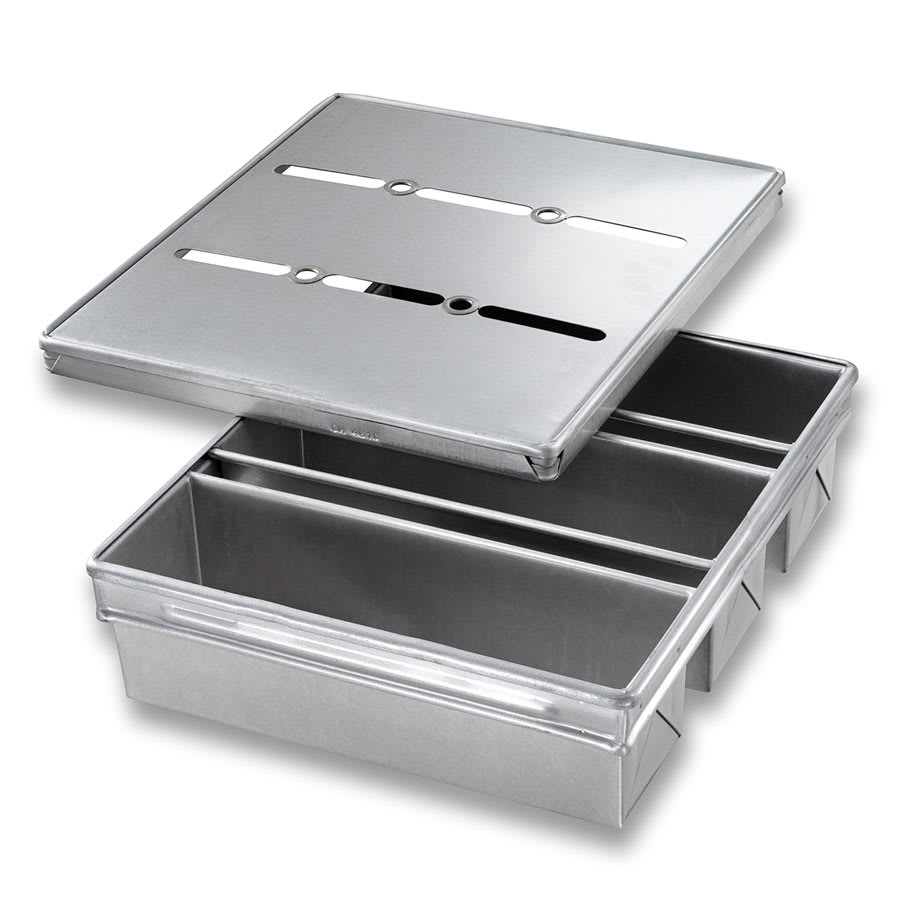 "Chicago Metallic 44635 Pullman Pan Set, Holds (3) 13"" x 4"" Pans, AMERICOAT Glazed 26-ga. Aluminized Steel"