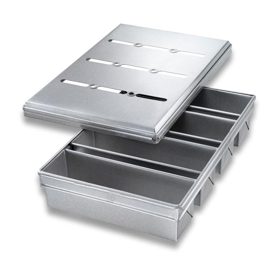 "Chicago Metallic 44685 Pullman Pan Set, Holds (4) 13"" x 4"" Pans, AMERICOAT Glazed 26-ga. Aluminized Steel"