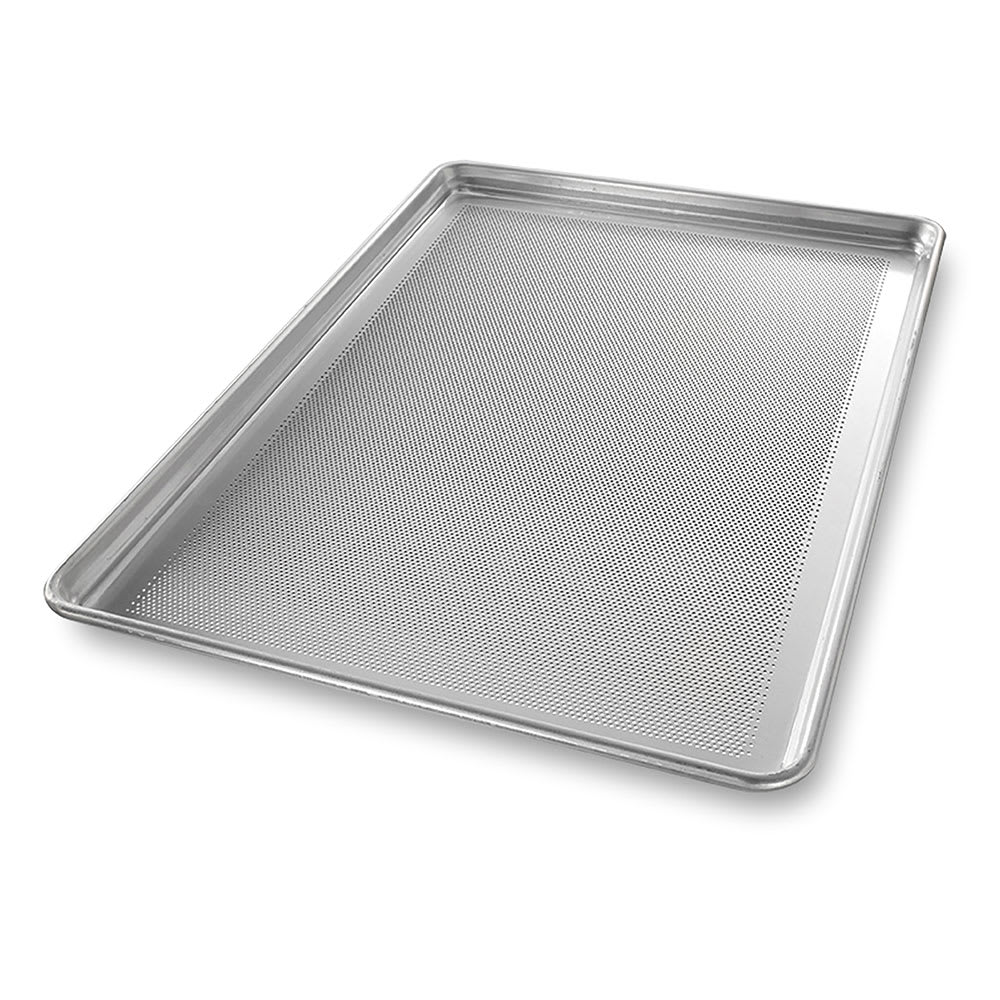 "Chicago Metallic 44699 1/1 Full Size Bun / Sheet Pan - 26"" x 18"" x 1"", 16 gauge Aluminum, Perforated"
