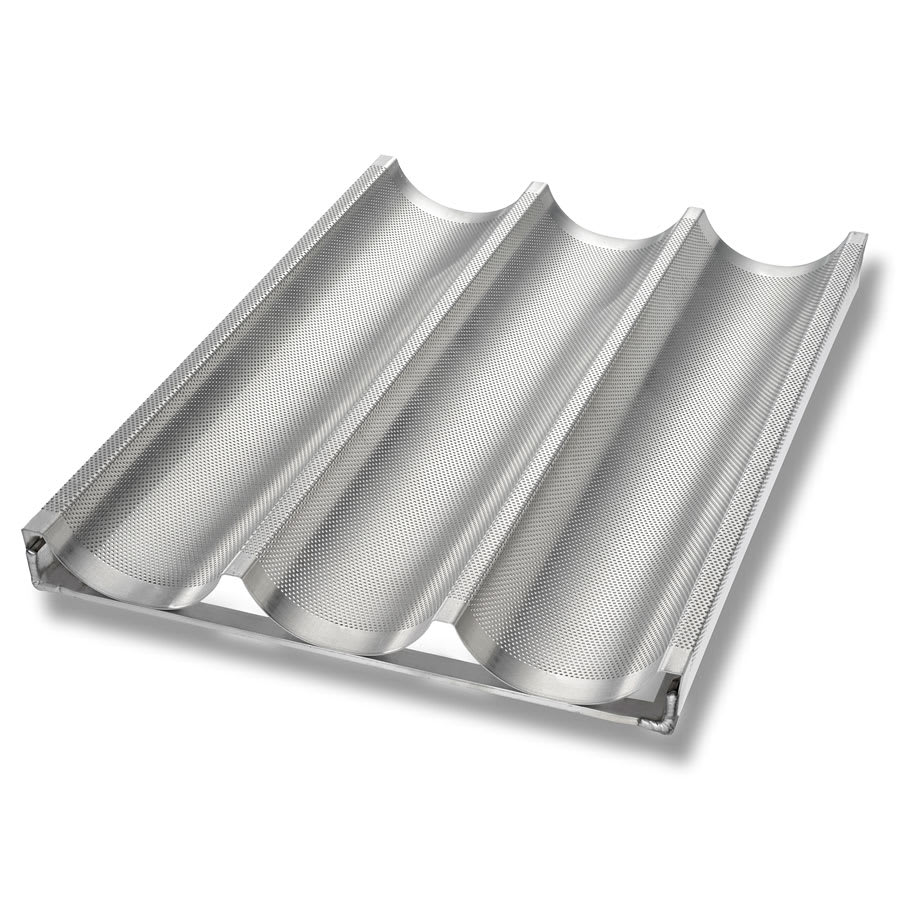 "Chicago Metallic 49011 Baguette/French Bread Pan, Makes (3) 5.19"" x 26"" Loaves, Perforated, Glazed 16 ga. Aluminum"