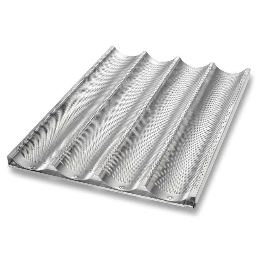 Chicago Metallic 49034 Uni-Lock Baguette French Bread Pan, 4-Loaves, Aluminum