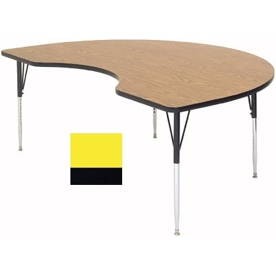 "Correll A4896-KID 38 Activity Table w/ 1.25"" High Pressure Top, 96""W x 48""D, Yellow"