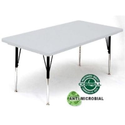 """Correll AR3072-AM 162523 Anti-Microbial Activity Table, Adjusts To 25"""", 30 x 72"""", Gray Granite/Black"""
