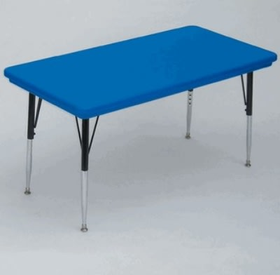 """Correll AR3072-REC 27SL Free-Standing Activity Table, Adjusts to 25"""", 30 x 72"""", Blue"""
