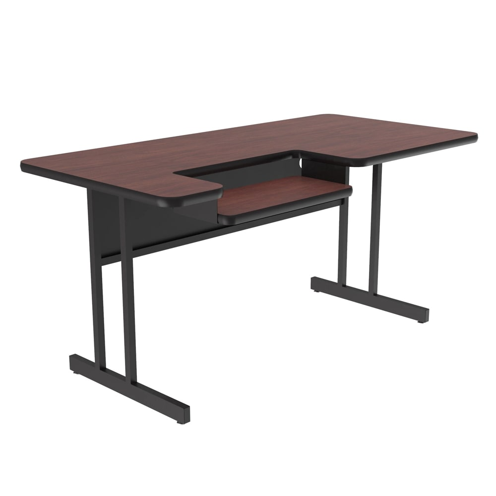 "Correll BL3048 20 Bi-Level Work Station w/ 1.25"" High Pressure Top, 30 x 48"", Mahogany/Black"