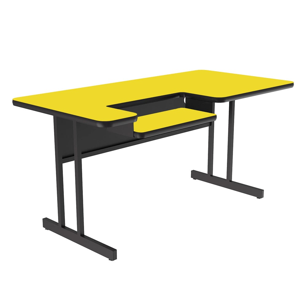 "Correll BL3048 28 Bi-Level Work Station w/ 1.25"" High Pressure Top, 30 x 48"", Yellow/Black"