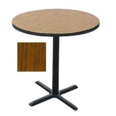 "Correll BXB24R 06 24"" Round Bar Cafe Table w/ 1.25"" Pressure Top, 42"" H, Oak/Black"