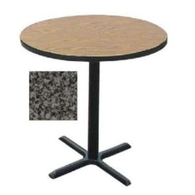 "Correll BXB24R 24"" Round Bar Cafe Table w/ 1.25"" Pressure Top, 42"" H, Black Granite/Black"