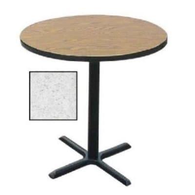 "Correll BXB24R 15 24"" Round Bar Cafe Table w/ 1.25"" Pressure Top, 42"" H, Gray Granite/Black"