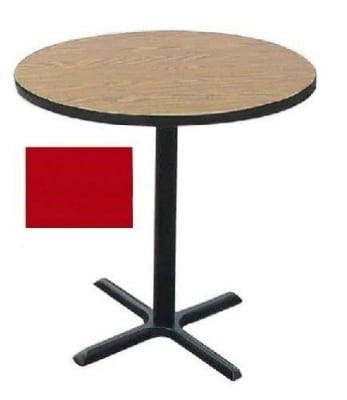 "Correll BXB36R 25 36"" Round Bar Cafe Table w/ 1.25"" Pressure Top, 42"" H, Red/Black"